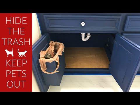 DIY Hidden Bathroom Trash Can - Keep Pets Out of Bathroom Trash