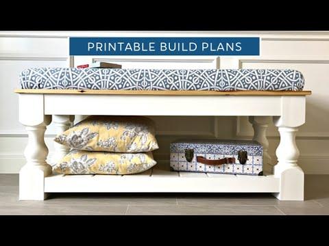 DIY Modern Farmhouse Bench - Printable Woodworking Build Plans