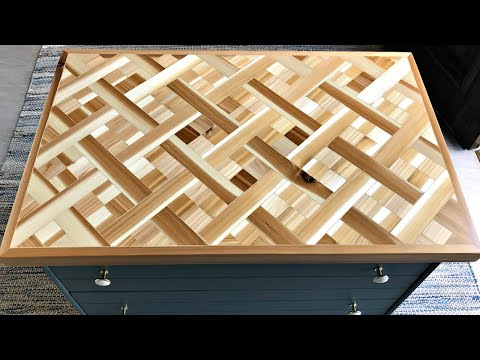 DIY Wood Mosaic Table Top - Geometric Wood Art Table Top