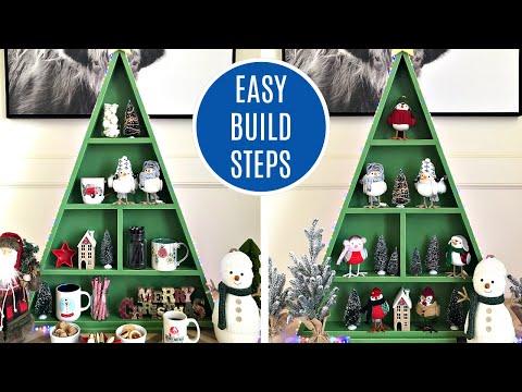 DIY Wood Christmas Tree Shelf - Fun Wooden Display for Christmas Decorations