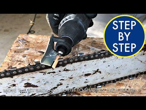 How to Sharpen Chain Saw Blade - Using Dremel Sharpening Kit on Husqvarna Chainsaw