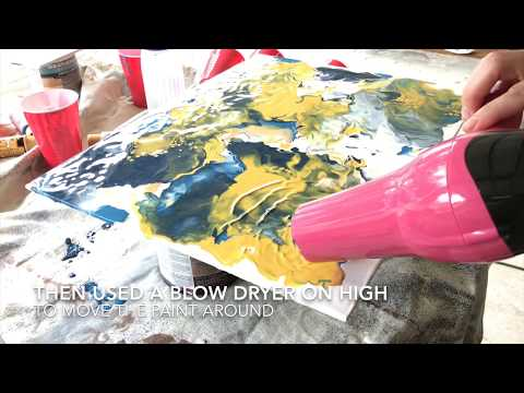 Abstract Acrylic Pour Painting with Hair Dryer - Blues and Yellows