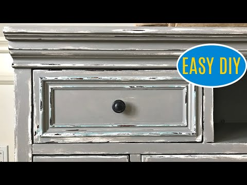 DIY Gray Chalk Paint Layering and Distressing - Before and After Furniture Makeover