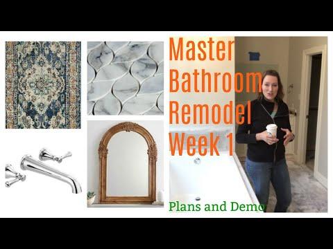 Marble Master Bathroom Remodeling Design & Demo - Week 1 One Room Challenge