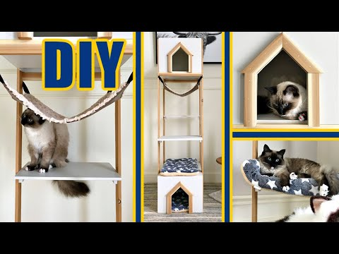 Easy DIY Cat Tree Wood House or Cat Tower Build Plans!