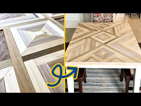 DIY Geometric Wood Table Top Art - Step by Step Poplar Mosaic