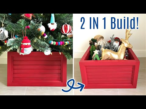DIY Wood Christmas Tree Box Stand - That's also Ornament Storage!