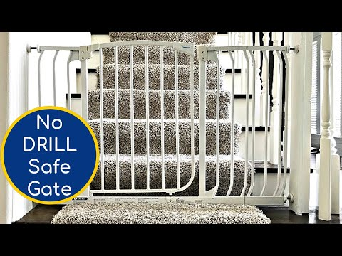 Easy Baby Gate Installation for Stairs - No Drill, No Holes Pressure Mounted Baby Gate on Stairs