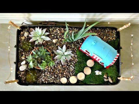 Indoor Fairy Garden - DIY Tray Gardening Idea - Fun Succulent Tray Garden Idea