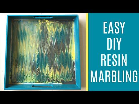 DIY Epoxy Resin Art Idea - Ebru Marbling with Resin and Acrylic Craft Paint
