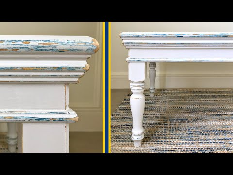 DIY White & Blue Distressed Chalk Paint Furniture Makeover
