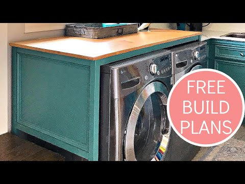 DIY Over Washer and Dryer Laundry Table Plans - Beginner Woodworker Build Plan