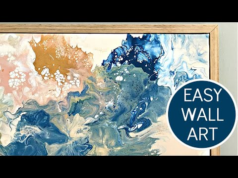 Pouring Acrylic Paint on Canvas - Pastel Pink, Blue, Yellow - Acrylic Pour Painting with Blow Dryer