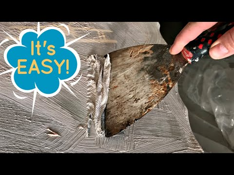 Easy DIY for Stripping Paint and Stain from Wood Furniture - Using Citristrip and Cling Wrap