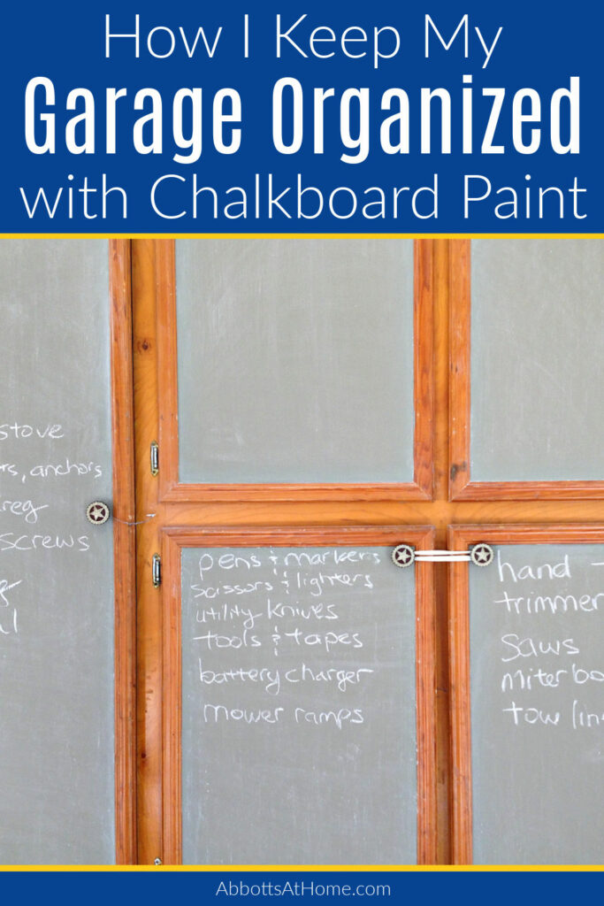Try this idea for organizing your garage storage. If you have cabinets, you can use chalkboard paint on cabinet doors to make them look better and to label the cabinets. This can help to keep track of what goes where and make it easier to find things. Make your own chalkboard paint in any color with this tutorial.
