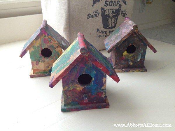 Kids craft painted birdhouse