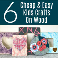 Looking for a fun new craft idea for your kids? Here's 6 easy and cheap Kids Crafts on $1 wood plaques & frames. Dollar Tree Kids Craft Ideas on wood.