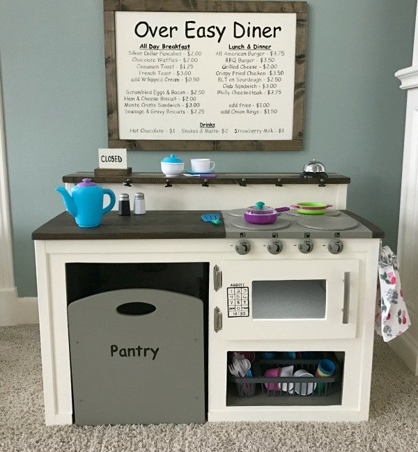 DIY Kids Play Kitchen Diner and Menu