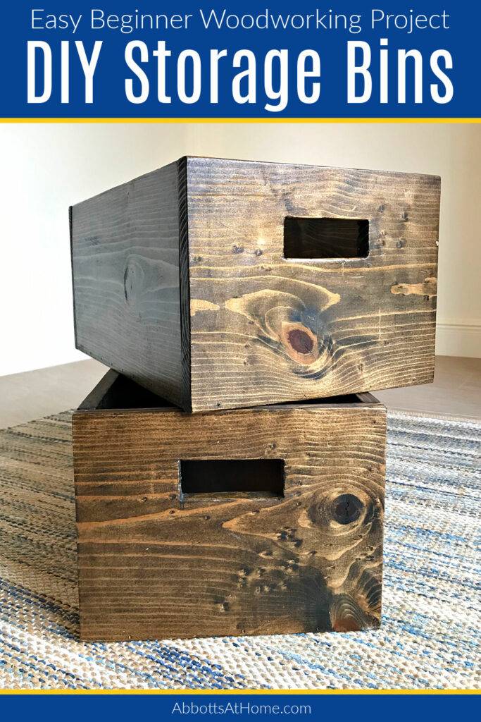 I LOVE this easy DIY Wood Storage Bin for Beginners! You can make it in any size AND it's a great starting project for new woodworkers. Build Custom-Sized storage bins in any size.