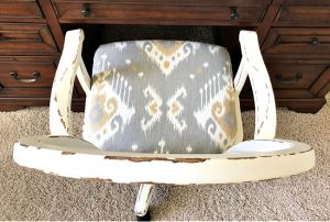 Step by step tutorial for this beautiful DIY Office Chair Makeover. Easy steps for new cushion upholstery, paint, and how to replace roller wheels on a office or desk chair. Before and after office chair makeover.