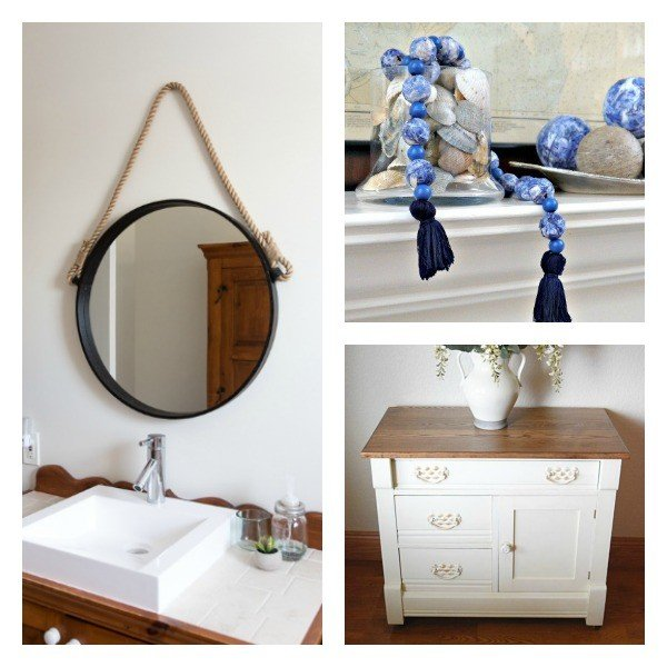 DIY Rope Mirror, Mod Podge wood beads, and a dresser remodel are featured in this weeks DIY, woodworking, remodeling, crafting, and recipe link party.