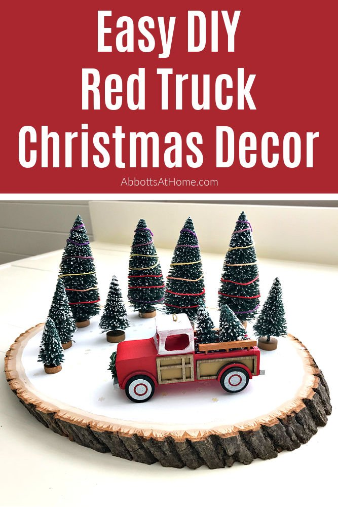Make this Quick and Easy Red Truck DIY Christmas Decor Idea. You can find everything you need online, at Target, WalMart, or at Dollar Tree. Fun Family Christmas Craft Idea.