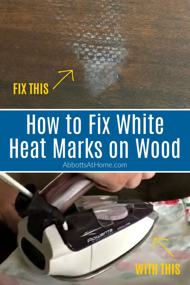 How to Fix White Heat Marks on Wood Tables. If you've ever left a hot pizza box on a wood table, you've probably had this happen. Luckily there is a pretty quick fix for how to remove heat stains on wood furniture. And, all you need is an iron to fix it.