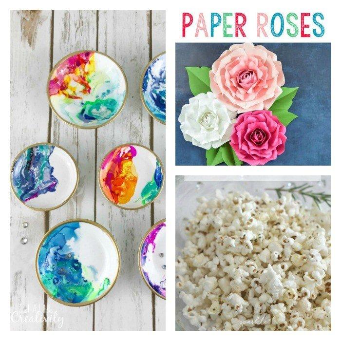 Rosemary & Parmesan Popcorn, Large Paper Rose Tutorial, and DIY Marbled Dish