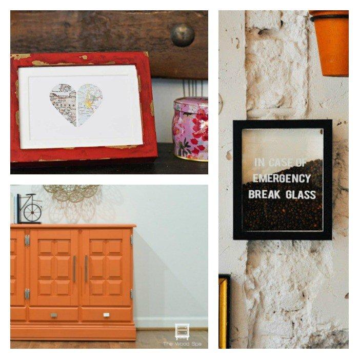 Coffee Bean Art, Heart City Map, Orange Paint Buffet Makeover