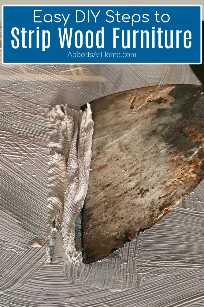 Easy DIY Steps for Stripping Paint from wood furniture or cabinets. With printable written steps and an easy to follow video. How to Use Citristrip and Saran Wrap to strip furniture.