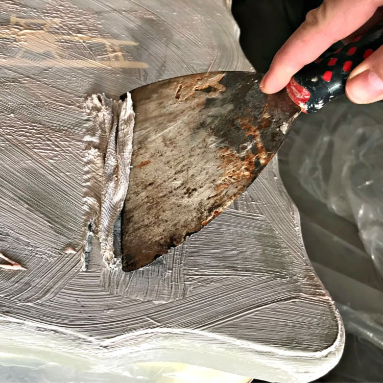 Here is my easy DIY for Stripping Paint from wood furniture or cabinets. I use these steps every time I need to strip an old paint or stain finish. Using Citristrip Gel and Cling Wrap or Saran Wrap.