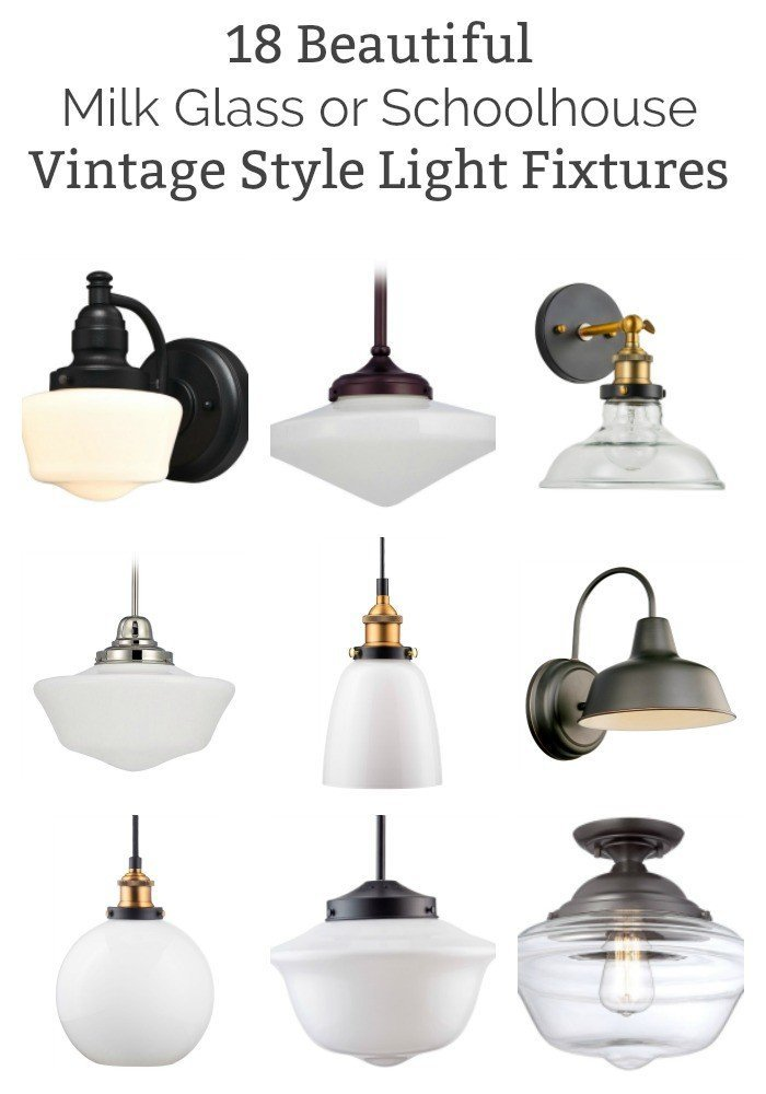 I'm loving the timeless and beautiful look of vintage-style lights, lately. Here's the best milk glass and schoolhouse lights for your home.