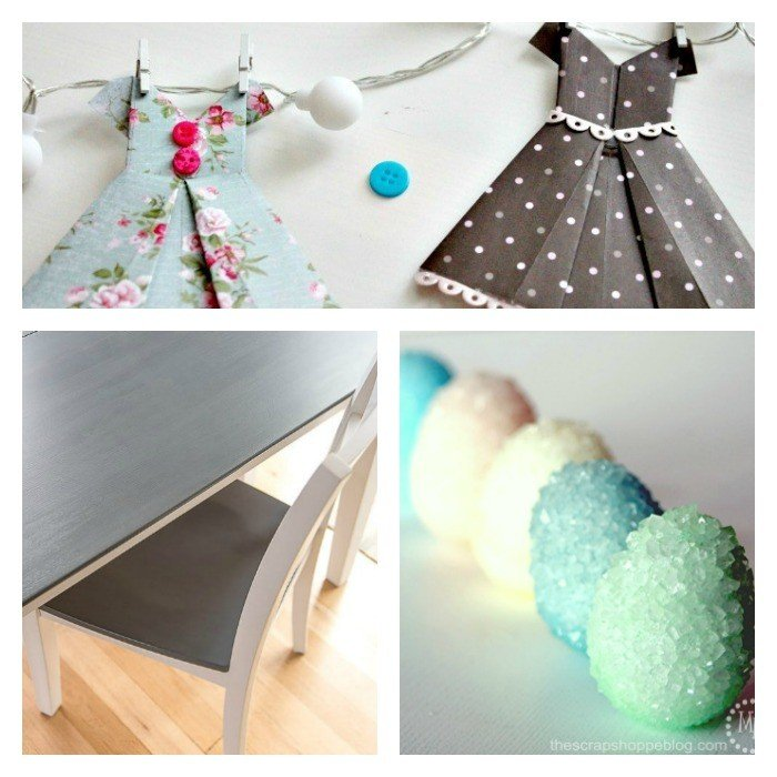 This weeks features: Pretty Borax Crystallized Egg Vases, the perfect Grey Stain for a table makeover, and a sweet Vintage Dress Paper Banner.