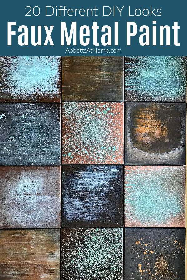 Easy to Follow Steps for How to Patina Paint Metal Finishes with 20 different DIY faux metal looks for Copper, Bronze, and Iron Rust Patina. Just paint on the metal paints and spray with the oxidizing patina spray to get a faux metal look you'll love.