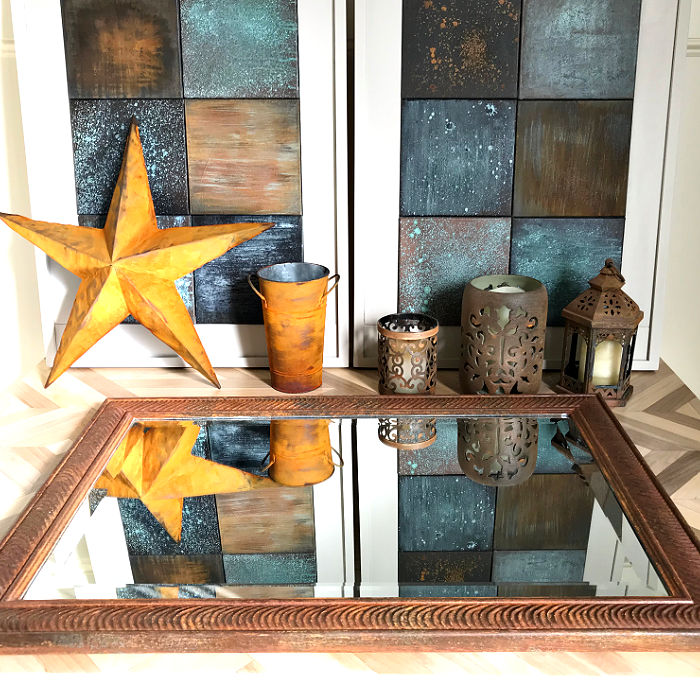 Easy DIY Rust Paint Effect to give your old Home Decor and Furniture a beautiful new look. Just paint then spray the patina, that's it! Easy DIY Home Decor Paint Makeover with metal patina paints.