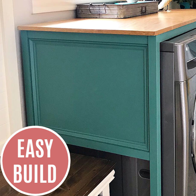 This easy DIY Table Over Washer and Dryer hides that ugly gap behind your washer and dryer, adds style, and gives you a great folding table!