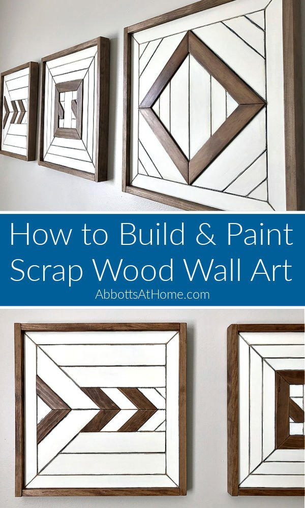 Easy to follow DIY steps and video showing how to design, make and paint simple scrap wood wall art to match any room or style.