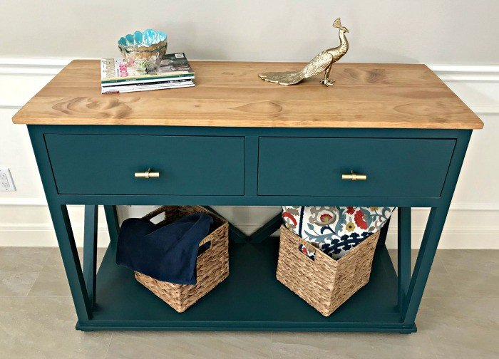 Easy to follow tutorial for a beautiful DIY Console Table Plan with Drawers for extra storage in an Entry, Dining Room, or Living Room!  Step by Step Kreg Jig Pocket Hole build with printable plans available. Easy enough for beginner woodworkers.
