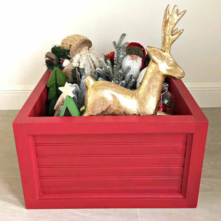 Build this easy DIY Christmas Tree Box Stand. Looks fantastic under your tree and stores your ornaments when you're ready to pack the tree away. DIY Christmas Woodworking Build Plan.