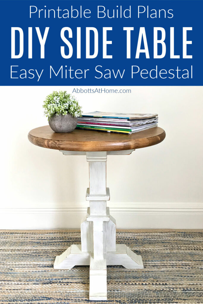 Build this sweet round top, pedestal base DIY Side Table Woodworking Plan for less than $50. Win! Full tutorial & printable build plans. How to build a small round side table.