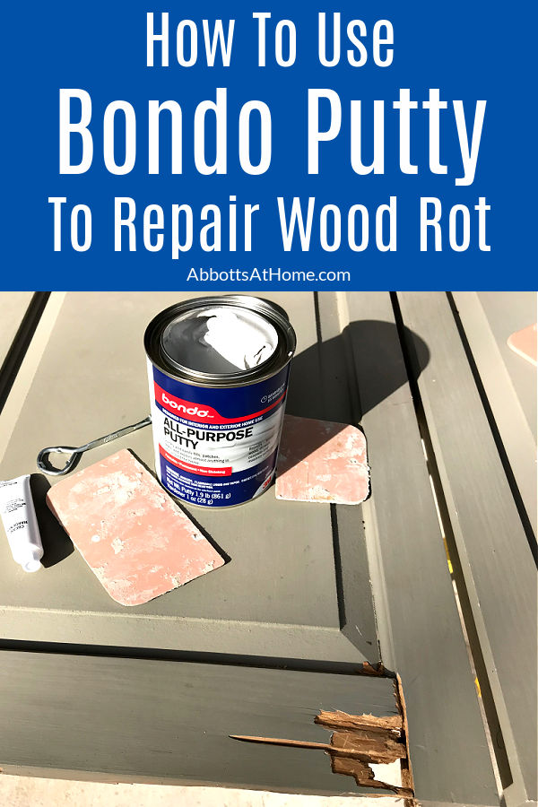 The easy to follow steps and how to video for using Bondo to Repair Wood Rot. This DIY saved our Exterior Shutters from the burn pile. How to Use Bondo All Purpose Putty to Repair Exterior and Interior Wood Rot.