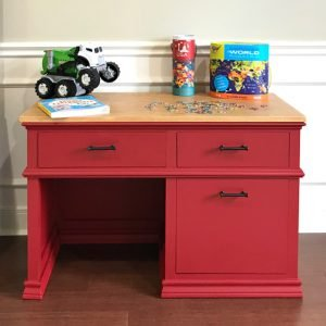 Full tutorial, build overview video, and printable plans for this beautiful DIY Childrens Desk Plans with Storage Drawers.