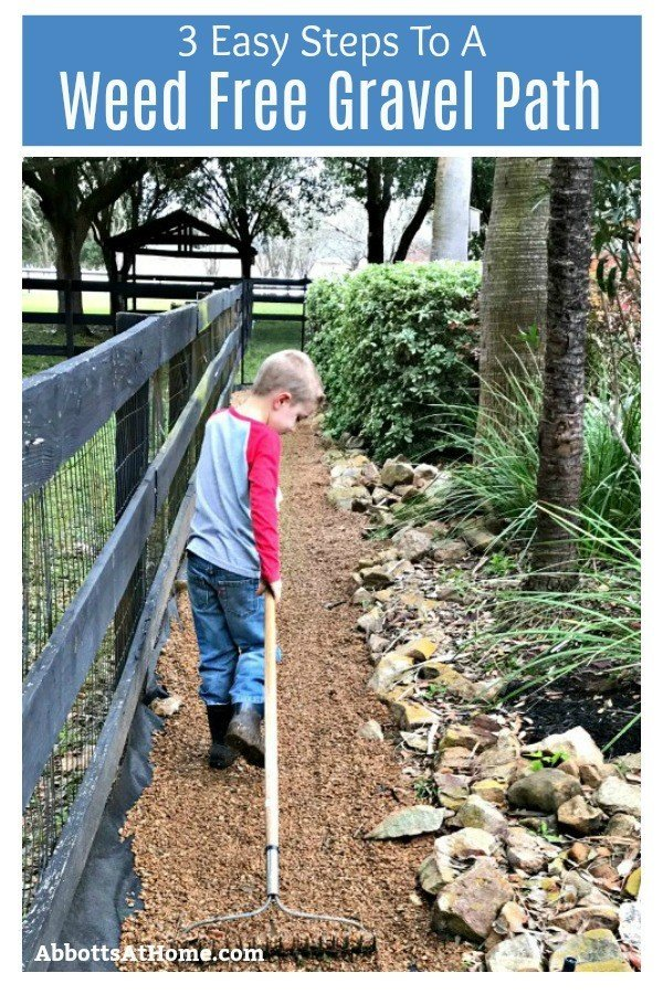 3 quick and easy steps to a weed free gravel path or pea gravel garden. You can block those weeds for years with just a little labor and 2 things from your local landscape supplier.