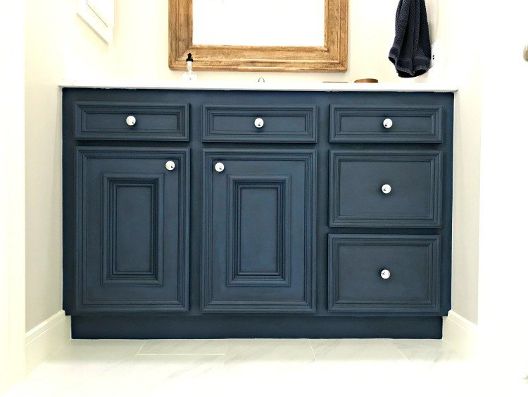 This DIY Napoleonic Blue Bathroom Vanity Makeover has completely transformed my bathroom. The color is beautiful and chalk paint is a great low budget diy project that anyone can do. #AbbottsAtHome #ChalkPaintMakeover #BathroomCabinets #BathroomVanity