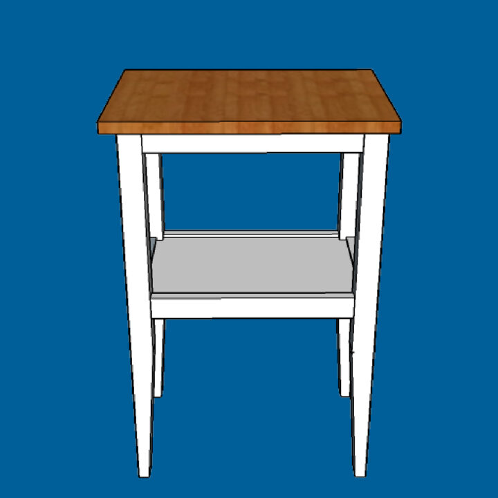 Build this pretty wood side table with a shelf for just $20 for a living room or a bedroom with my free printable DIY Side Table Plans.