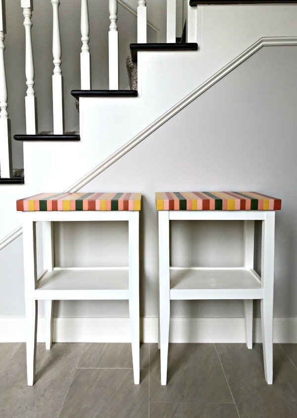 Build this pretty DIY wood side table forjust $20 for a living room or a bedroom with these free printable DIY Side Table Plans.