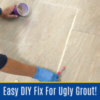 Here's the easy DIY steps for how to whiten grout, seal your grout, and get rid of grout stains that won't scrub clean - with just 1 product! You can make your grout look new again with this easy to apply grout paint.