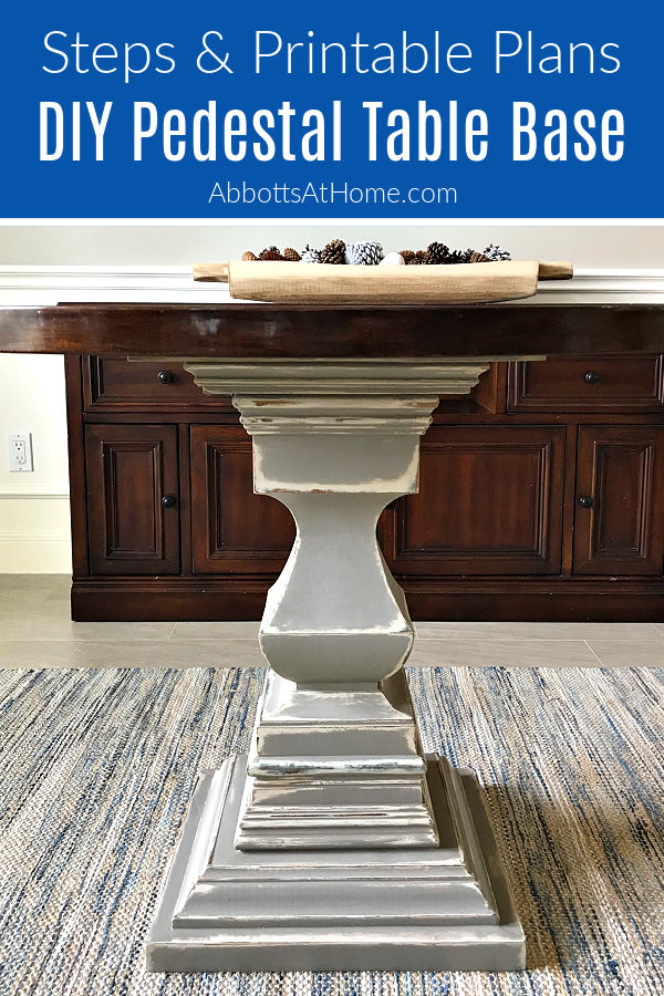 Easy to follow woodworking steps, video and printable plans for this beautiful DIY Wood Pedestal Table Base. Great for Round or Square Tops! Uses a premade pedestal center, adding lumber and molding to add width and height with just a Miter Saw. No bandsaw or lathe needed!