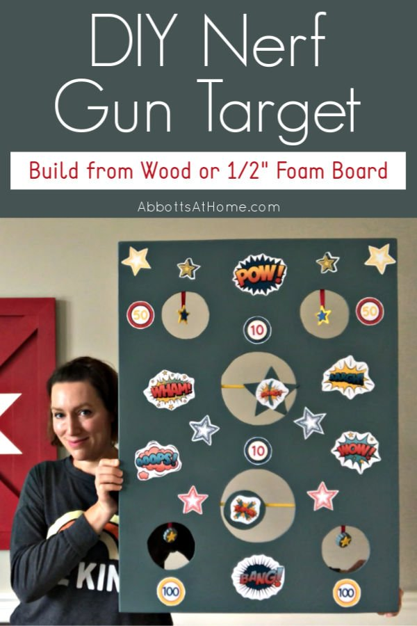 """Looking for another fun way to keep your kid's busy?! You can build this DIY Nerf Gun Target from Wood or 1/2"""" Foam Board. It's a great homemade kids game for indoors and outdoors."""