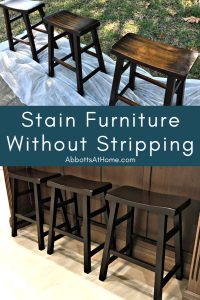Easy DIY Steps to Stain Wood Furniture Without Stripping the Old Stain. I'm using General Finishes Java Gel Stain for this makeover.